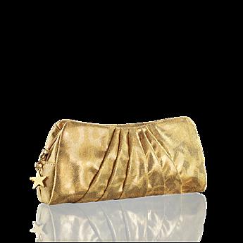 Категория косметики.  Серия продукта.  Шикарная золотистая сумочка-клатч, украшенная блестящей звездой...