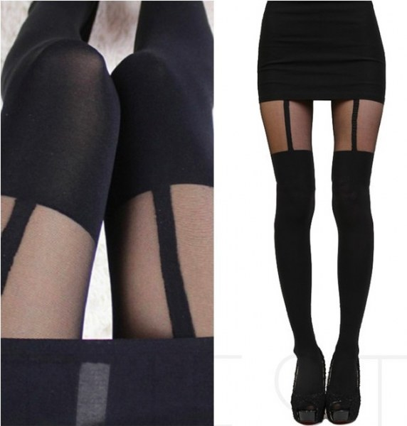 2203f6245acb Колготки AliExpress MOCK SUSPENDER TIGHTS - 120D + 30D Sexy Black Sheer  Heart Bow Stripe Over The Knee Pantys Medias Hosiery Stockings Pantyhose -  отзыв