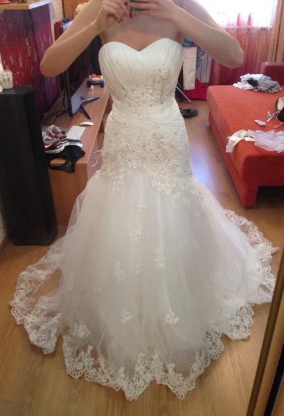 845ec3e16ba36fb Свадебное платье AliExpress 2013 Luxurious Croset Bodice Lace Top Quality  Real Sample Mermaid Designer Wedding Dress R-363 - отзывы