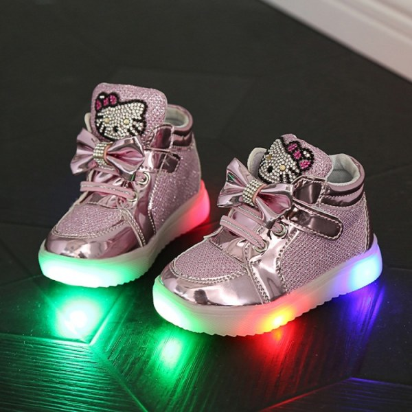 78a9df3779b7 Кроссовки Aliexpress Baby Girls boy LED Light Shoes Toddler Anti-Slip  Sports Boots Velcro Kids Sneakers Children s Cartoon Cat Flats - отзыв