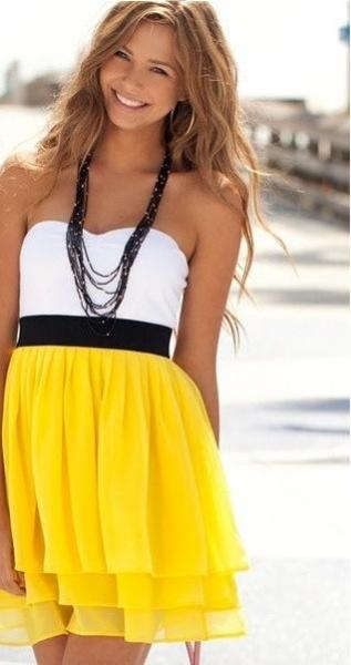 Бело-черно-желтые платья