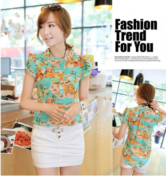 3189f1910a7 Блузка AliExpress Hot Sale 2014 casual women blouse short-sleeve floral  print chiffon blouse top