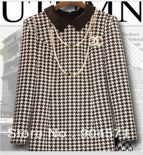 Платье AliExpress 2014 autumn winter women loose dress wool long sleeve Peter  pan collar houndstooth plaid wool dress Big size XXL online - отзывы 0d2e652ce