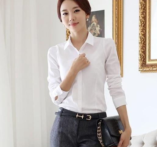 22ad2fa707d2 Рубашка женская AliExpress 2015 OL White Shirt Women Cardigan Office  Ladies' Long Sleeve Tops Slim Blouses & Shirts Women Work Shirt ...