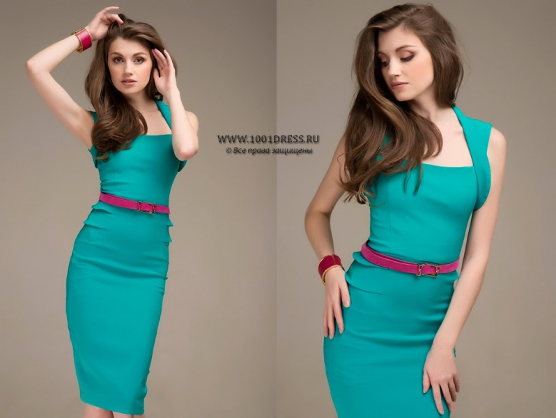 72e27d3878935ad Платье 1001DRESS мятное с драпировкой на талии | Отзывы покупателей