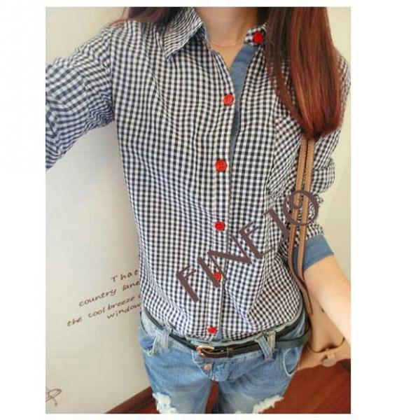 7c6f078130fda01 Рубашка женская AliExpress Women's Cotton Plaid Check Pattern long sleeve  Shirt Blouse Free Shipping - отзывы