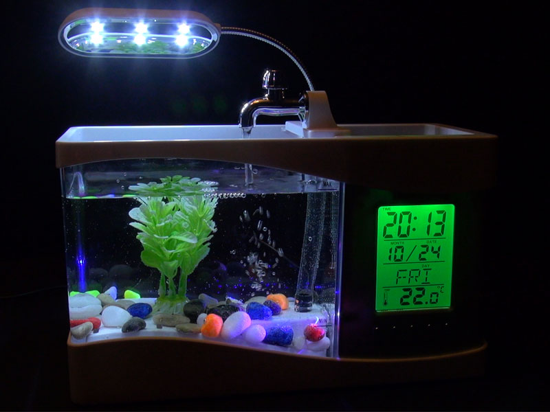 8c1b5b094d685e Аквариум Aliexpress Настольный, с органайзером. S72Mini LCD Desktop Fish  Tank Aquarium Clock Timer USB/AA w LED Light Calendar New - отзыв