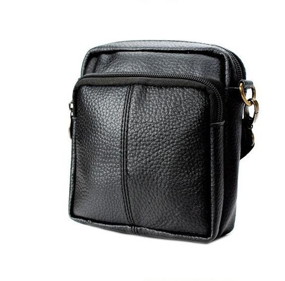 b5e05db7e988 Мужская сумка Aliexpress 2016 Fashion vintage genuine Leather small men bag  high quality brand men messenger bags casual mini shoulder bag black -  отзывы