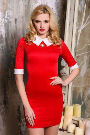 Платье красное манжеты белые