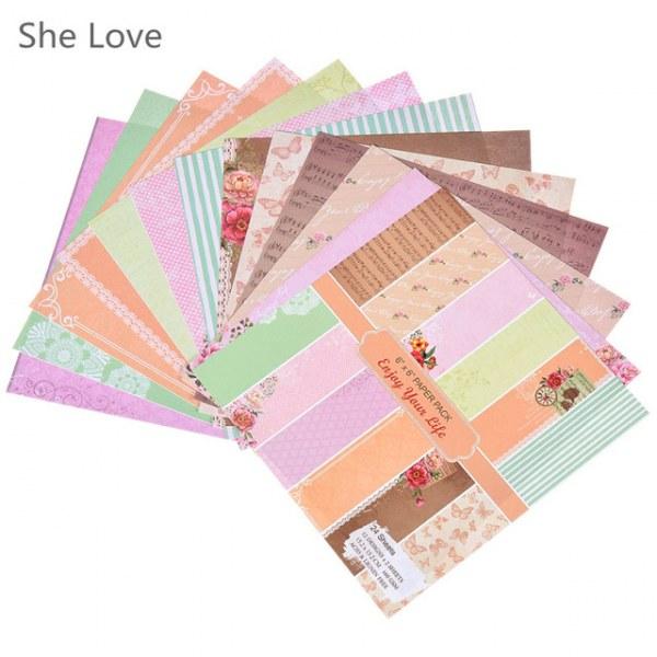 "24 Sheets 6/"" Scrapbooking Pad Paper Origami Art Background Card Making DIY Craft"