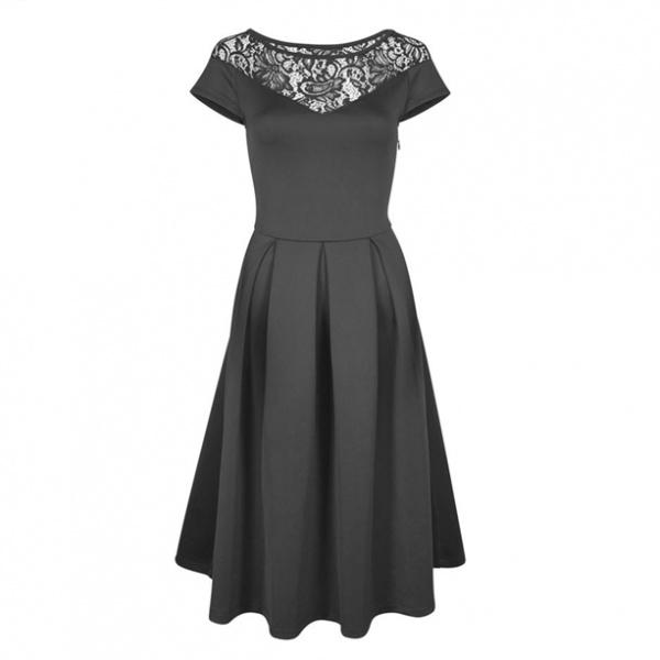 e23c9a1fac0 Платье AVON чёрное с кружевом и коротким рукавом