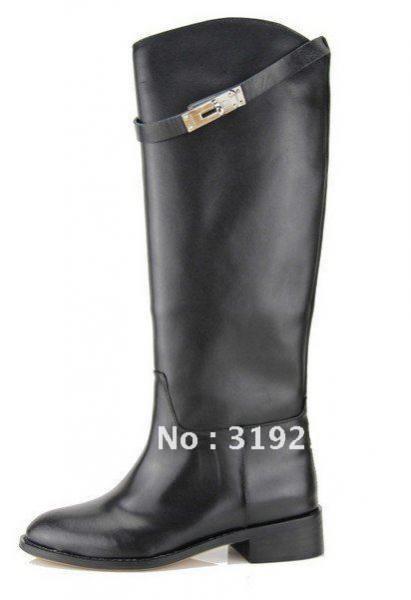 Сапоги демисезонные Aliexpress Hermes Ladies Fashion Brand Black Genuine  Leather Knee Boots - отзыв 31f8af394f7