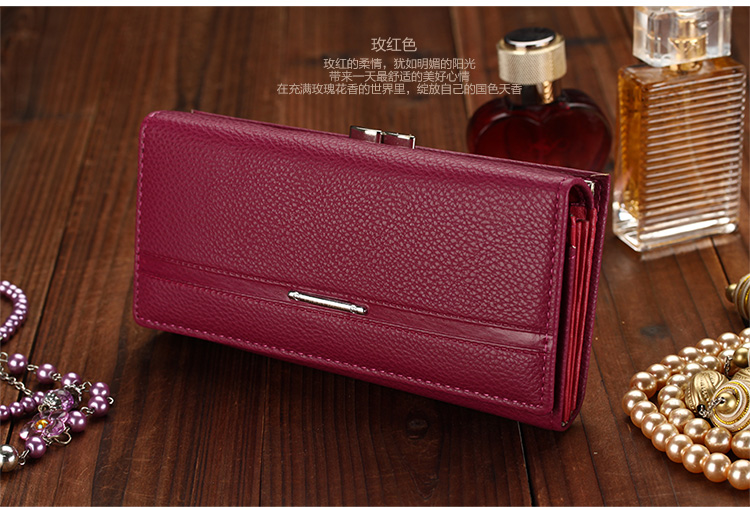 Женский кошелек Aliexpress High Quality Genuine Leather Wallet Women s  Wallet Clutch Long Design Clip Wallet Long Wallets Coin Purse Bag FFC12 -  отзывы b807c47c1417d