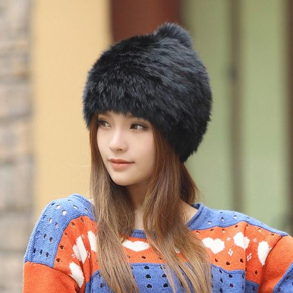 aa81384d0c56c Головной убор Aliexpress High quality Fashionable winter hats for women  Rabbit Fur beanie Knitting wool Real Fur Casual cute - отзывы