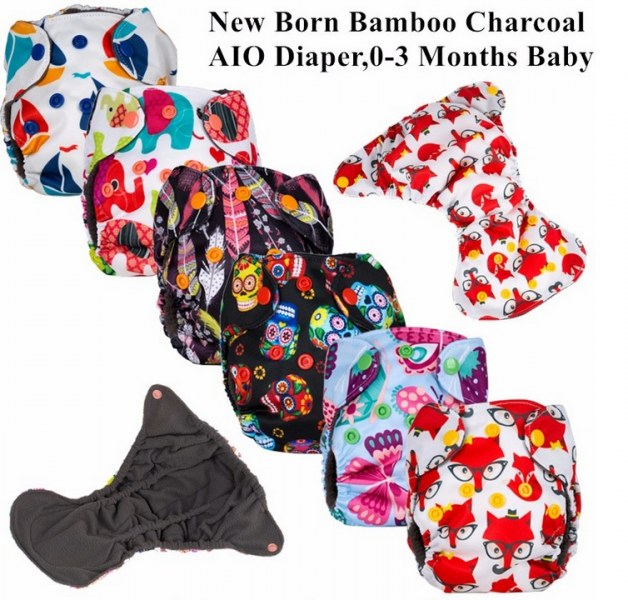 Многоразовые подгузники Aliexpress 1Pc Reusable Waterproof Newborn Bamboo  Charcoal AIO Baby Cloth Diaper Nappy,0-3months Baby Use,Wholesale Selling -  отзывы a286eb67dee