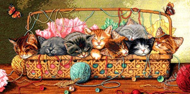 Вышивки маленьких котят схемы