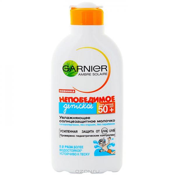 Увлажняющее солнцезащитное молочко Garnier Ambre Solaire непобедимое  детское SPF 50 - отзывы d69a4bba656ac