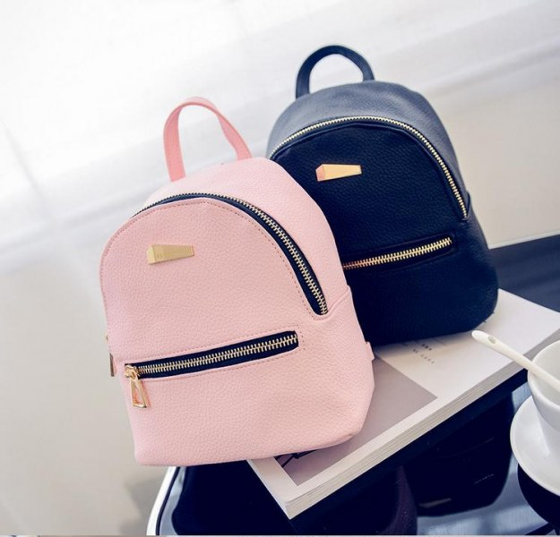 183f6c4faf9f Рюкзак женский Aliexpress Women leather backpack Hit color feminine school  bags for teenagers rucksack Leisure knapsack backpacks travel  19cm 17cm 12cm - ...