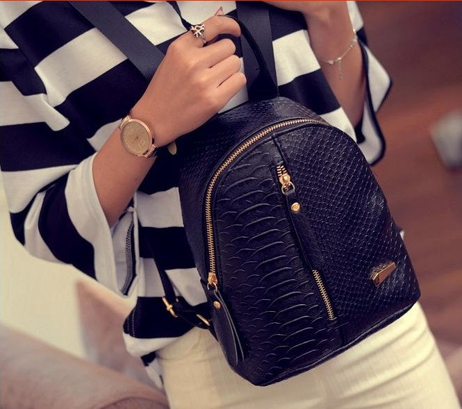 Рюкзак женский Aliexpress 2016 fashion small women backpack black rucksack  serpentine pu leather women shopping purse travel bag student school  backpacks - ... bc6ae9920dc