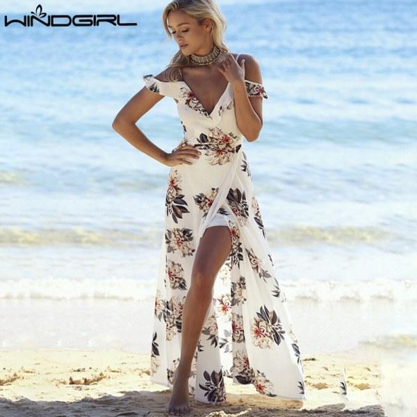 905581b171167 Пляжное платье AliExpress WINDGIRL Casual Maxi Boho Dress Women 2017  Elegant Flower Printed Lotus Leaf Sling Long Dresses Summer Beach Split  Chiffon Dress - ...