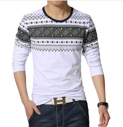9b54ac3a5f3 Лонгслив AliExpress 2015 NEW fashion brand casual fitness tshirt Long  Sleeve t shirt men geometric print Slim Fit t-shirt plus size 3XL 4XL 5XL -  отзывы