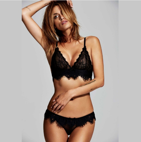Комплект нижнего белья Aliexpress Eyelash Lace Bralette Briefs Soft  Triangle Bra Panty Sets Sexy Intimates Crop Top Very Sexy Underwear - отзыв 1f2319d08bfcd
