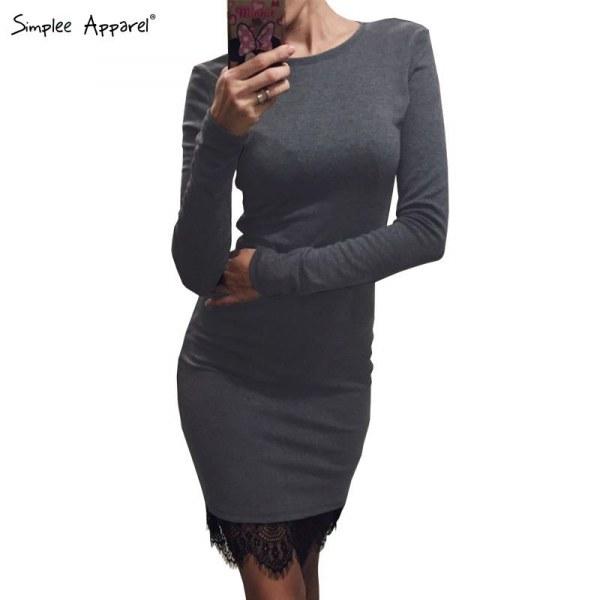 Трикотажные платья с кружевами фото