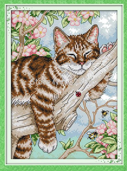Ленивый кот вышивка крестом