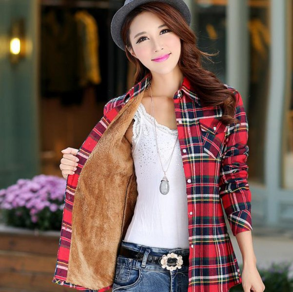 3449f6f1db9 Рубашка женская AliExpress Tops Blusa Camisa Femininas Autumn winter warm  cotton long-sleeved thick velvet women s plaid shirt flannel office shirts  - отзыв