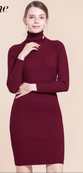 36b749d475e Платье вязаное AliExpress Samuume Elegant Turtleneck Long Sleeve Knit Dress  2017 New Autumn Warm Bodycon Dress Winter Office Lady Dresses Vestido  A1708050 - ...