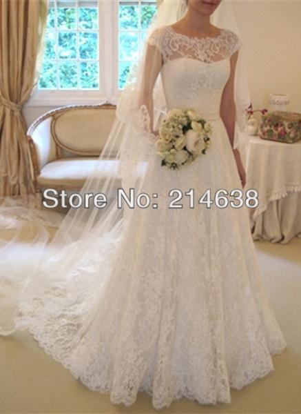 c624f2651fe7944 Свадебное платье AliExpress Платье свадебное elegant new design 2014 lace  cap sleeve wedding dress custom made Venus-Beauty - отзывы