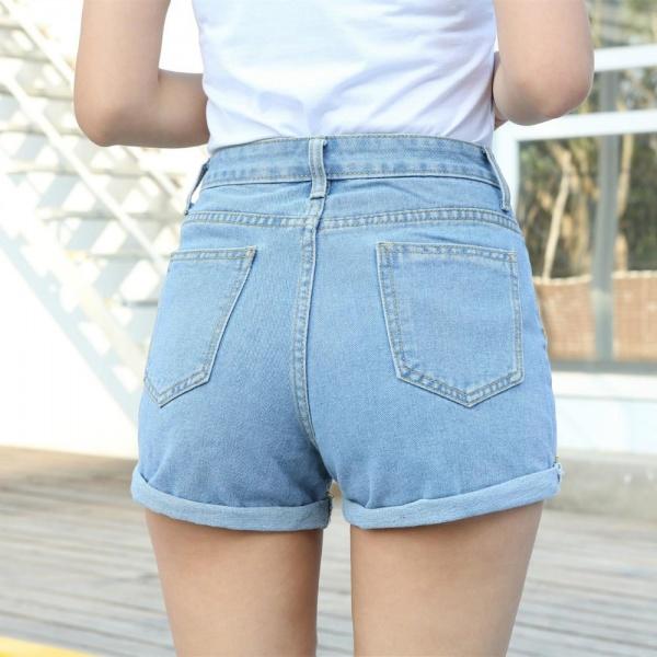 28695bf93fd Шорты AliExpress Women Sexy Ripped Denim Shorts Ladies'Casual Mid Waist  Cuff Jeans Shorts Summer Spring Autumn Plus Size Shorts - отзывы