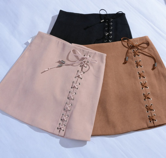 a4276ba8e5 Юбка AliExpress Women's Vintage High Waist External Pocket Tight Suede Lace  Up Skirt Autumn Winter Thick Pencil Skirt Preppy Mini Skirt NS8595 - отзывы