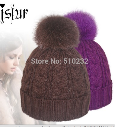 d0a0cdca0b9 Шапка AliExpress Apparel Accessories Winter Red Removable Fox Bobble Hat  For Women Warm Knitted Beanies With Fur Pom Poms - отзывы