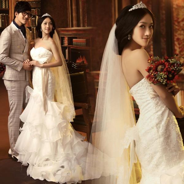 80513b9a649334d Свадебное платье AliExpress Royal princess luxury lace fish tail train bow  - отзывы