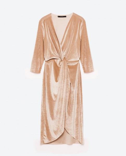 293dea310fa Вечернее платье ZARA из бархата с запахом цвет розово-телесный артикул   0594 167 - отзывы
