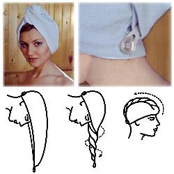 Тюрбан для сушки волос белый кот