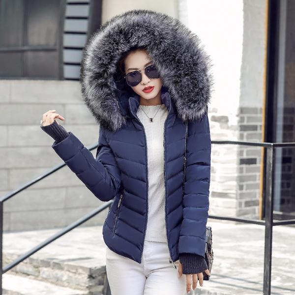Women fur collar parka down cotton jacket winter jacket women thick coat