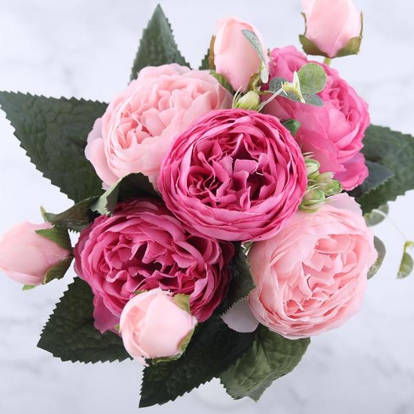 9 Heads Silk Peony Artificial Flowers 30cm Wedding Party Decor Fake Rose Bouquet
