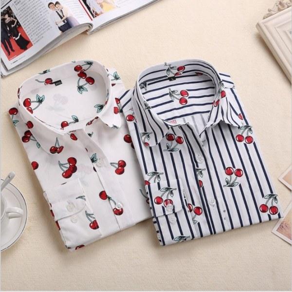 ced2d03f566c4e3 Рубашка женская AliExpress New Floral Long Sleeve Vintage Blouse Cherry  Turn Down Collar Shirt Blusas Feminino