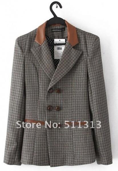 Пиджак с заплатками на локтях AliExpress Free shipping 2013 Autumn  outerwear vintage casual female short slim plaid blazers plus size  G5858CHENGFU - отзывы e6aff34145b