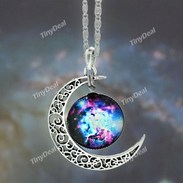 Galaxy necklace lovely moon galaxy nebula space antique silver alloy pendant platinum plated chain necklace couple