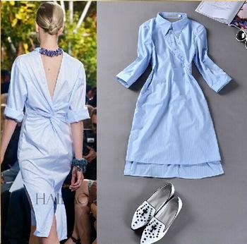 f41deff0581 Платье AliExpress HIGH QUALITY New 2014 Runway Fashion Women s Novelty Back  V Open Asymmetrical Designer Shirt Dress - отзывы