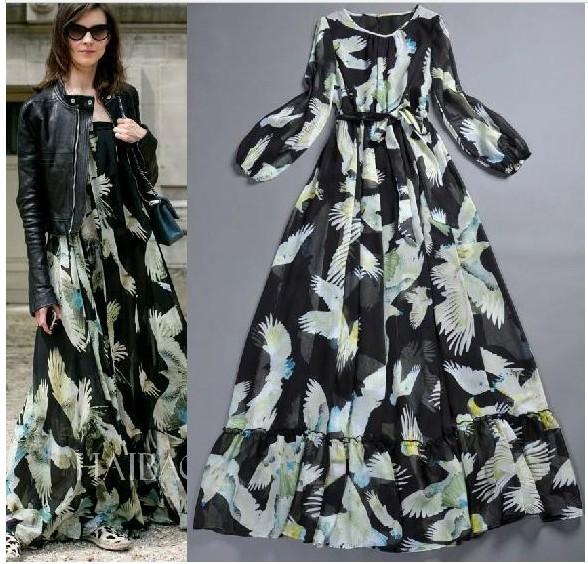 e7e0c705489 Платье AliExpress High Quality 2014 Runway Women s Black Dove Design Print  Bohemia Dress O-neck Dress Elgent Maxi Dress S-L Free Shipping - отзыв
