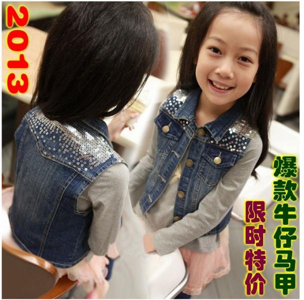 Детские джинсовые жилетки для девочек
