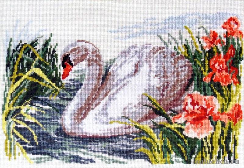 Вышивка крестом белый лебедь