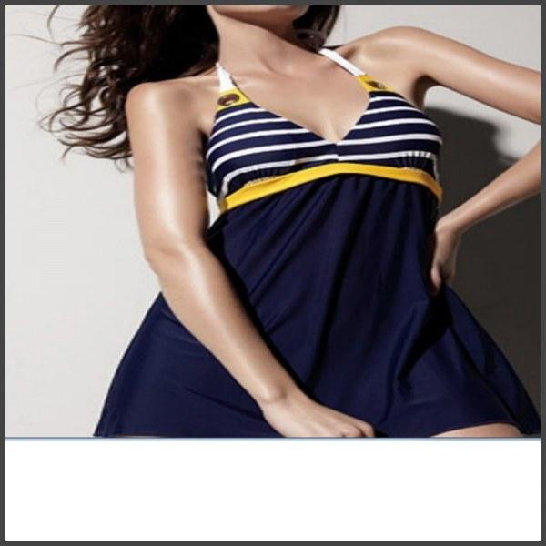 9b5555dbb681b Купальник AliExpress New Sexy Stripe Plus Size Padded Navy Blue Halter  Skirt Swimwear Women One Piece Swimsuit Beachwear Bathing Suit Free Shipping  - отзывы
